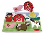 CHILDRENS CHILD MELISSA AND DOUG WOODEN CHUNKY BARNYARD FARM FUN 6 PIECE PUZZLE